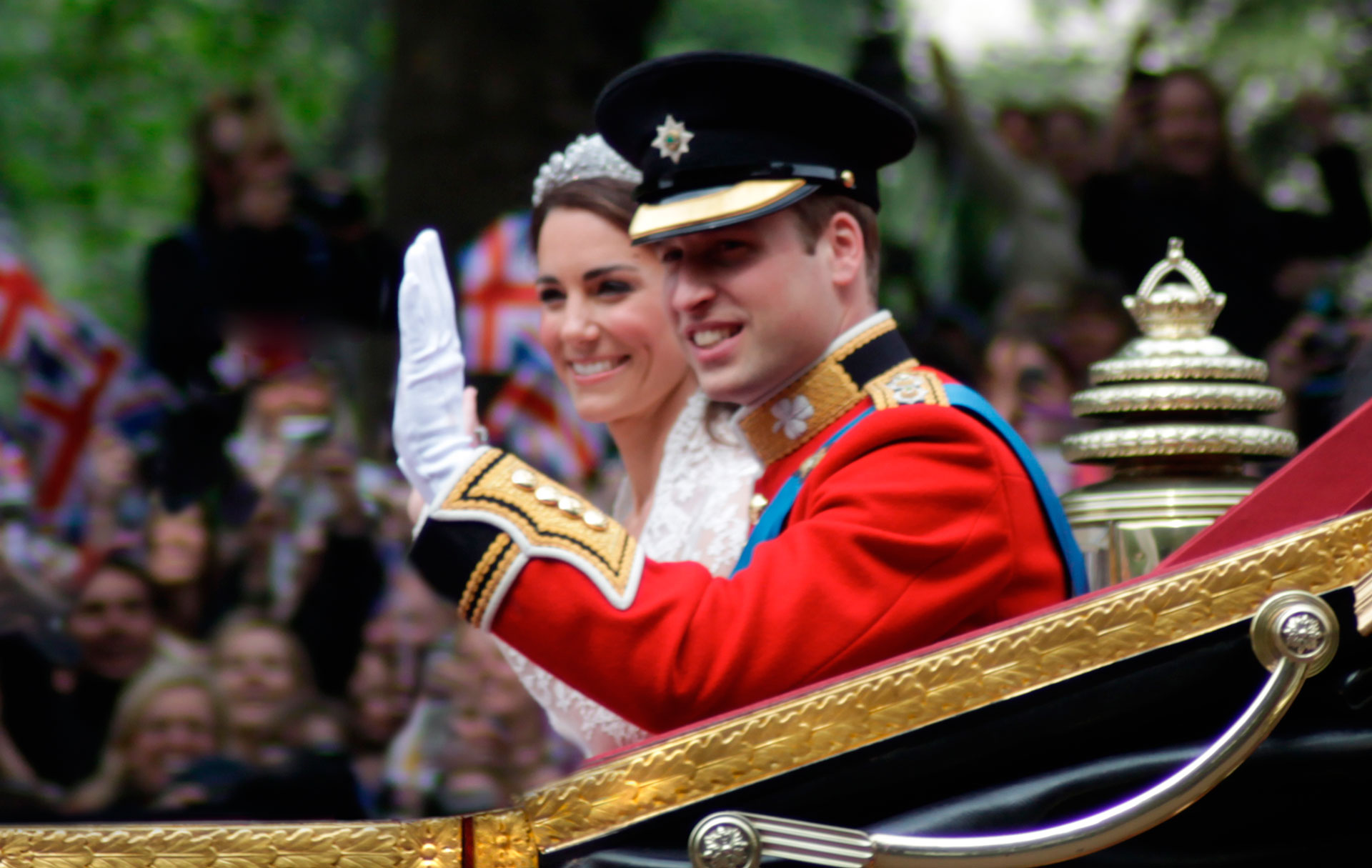 Photo: the wedding of Prince William, Duke of Cambridge and Catherine Middleton, 29 April 2011. The ceremony was viewed live by millions around the world.