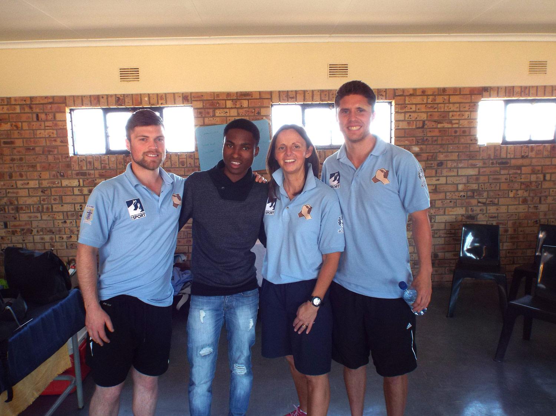 Photo: Mr Wilkes, Simphiwe Ndlovu, Mrs Chattoe, Mr Pringle, Mnyakanya High School, June 2015