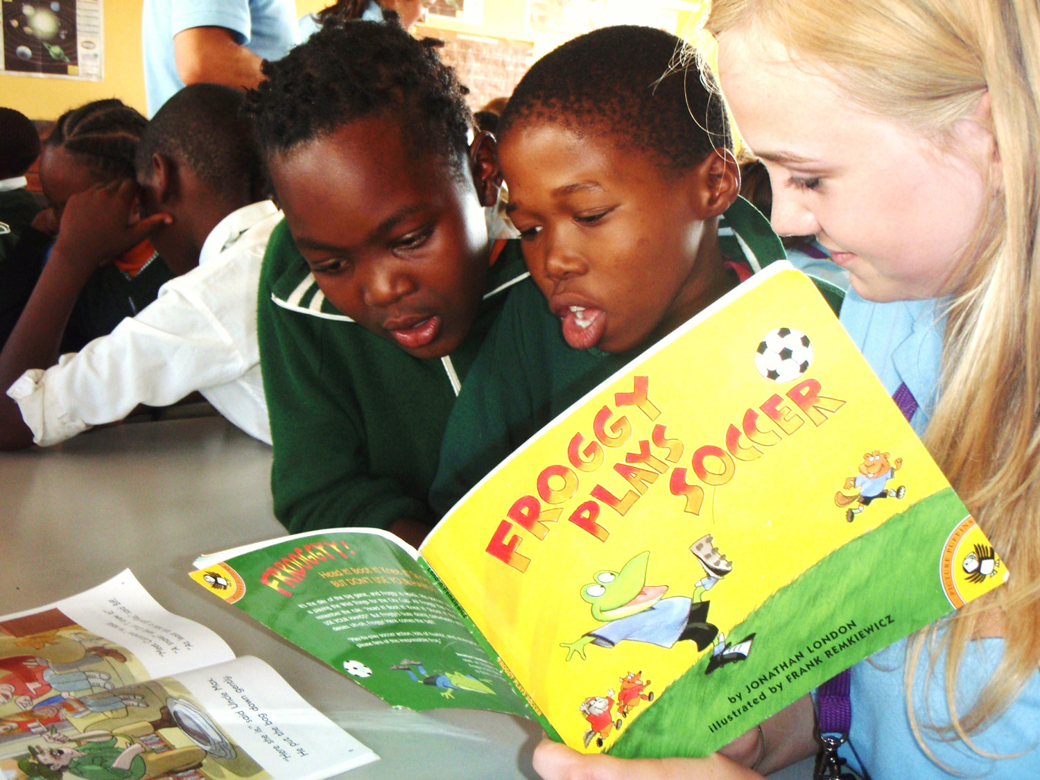 Photo: Reading together at Ntolwante Primary School