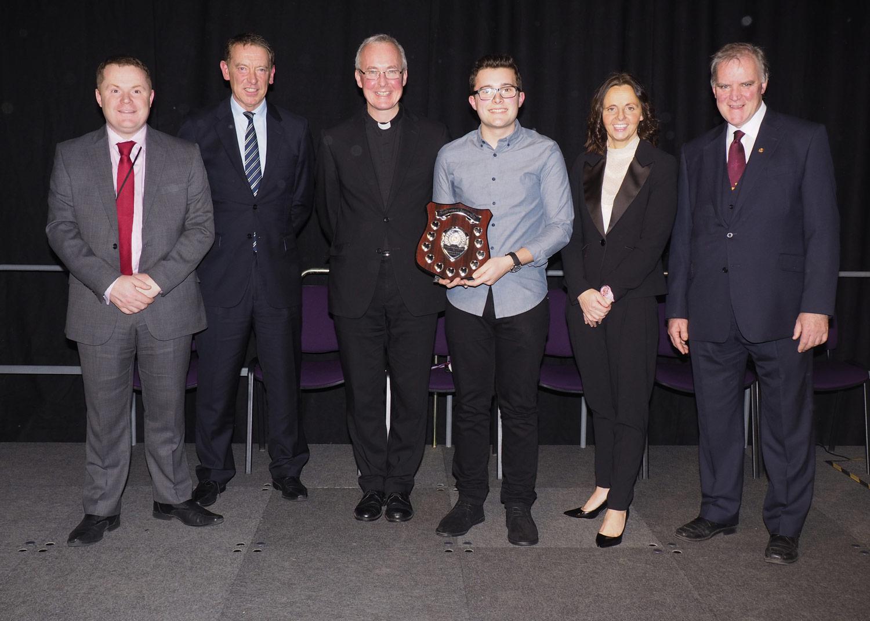 Photo: Mr D Beardsley, David Geldart, Mgr Paul Grogan, Karl Verspyck, Mrs C Chattoe, Mr R Lavery