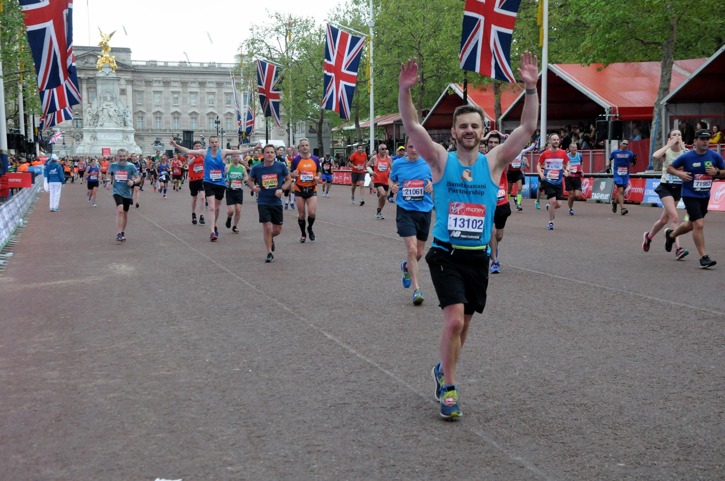 Chris at The Mall next to Buckingham Palace during the 2019 London Marathon
