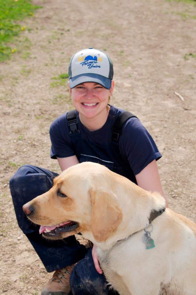 Stephanie and farm dog Smedley
