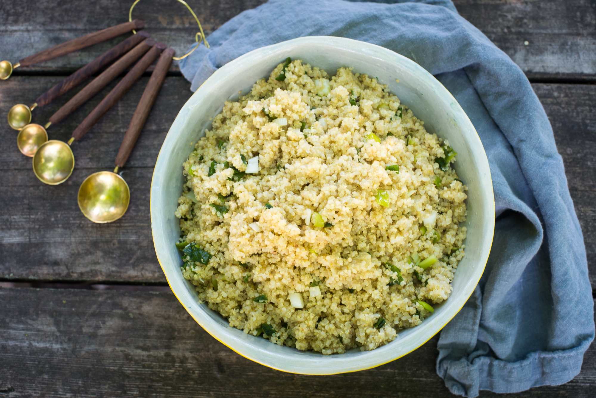 Quinoa pilaf with sauteed scallions...