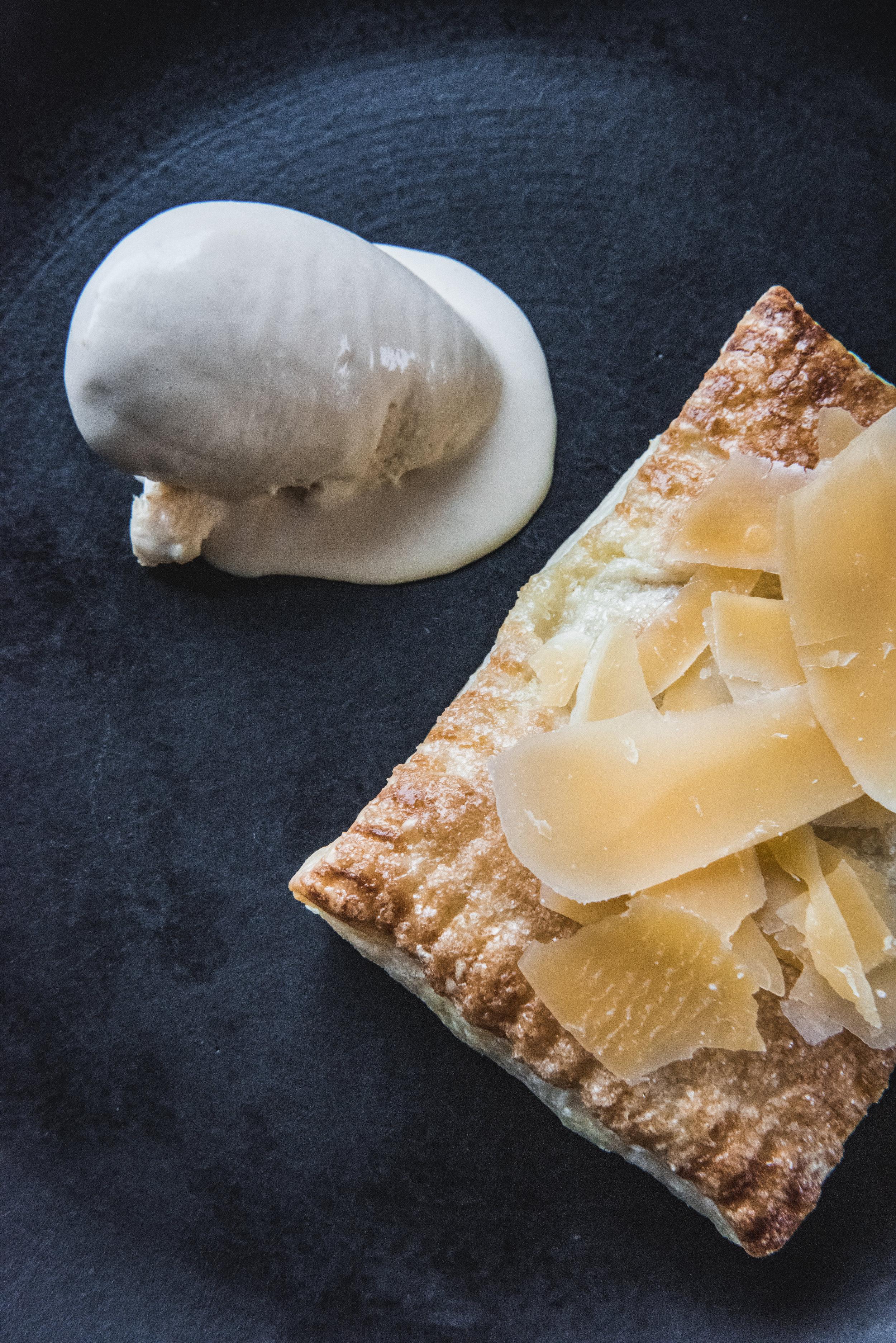 Apple poptart with Caramel-Cream Fraiche Ice Cream and aged Gouda