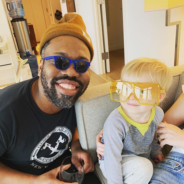 Part 2. This little guy and I exchanged SUNGLASSES. It's always a great way to LEARN. Do YOU know?  #future #sunglasses #wine #nyc