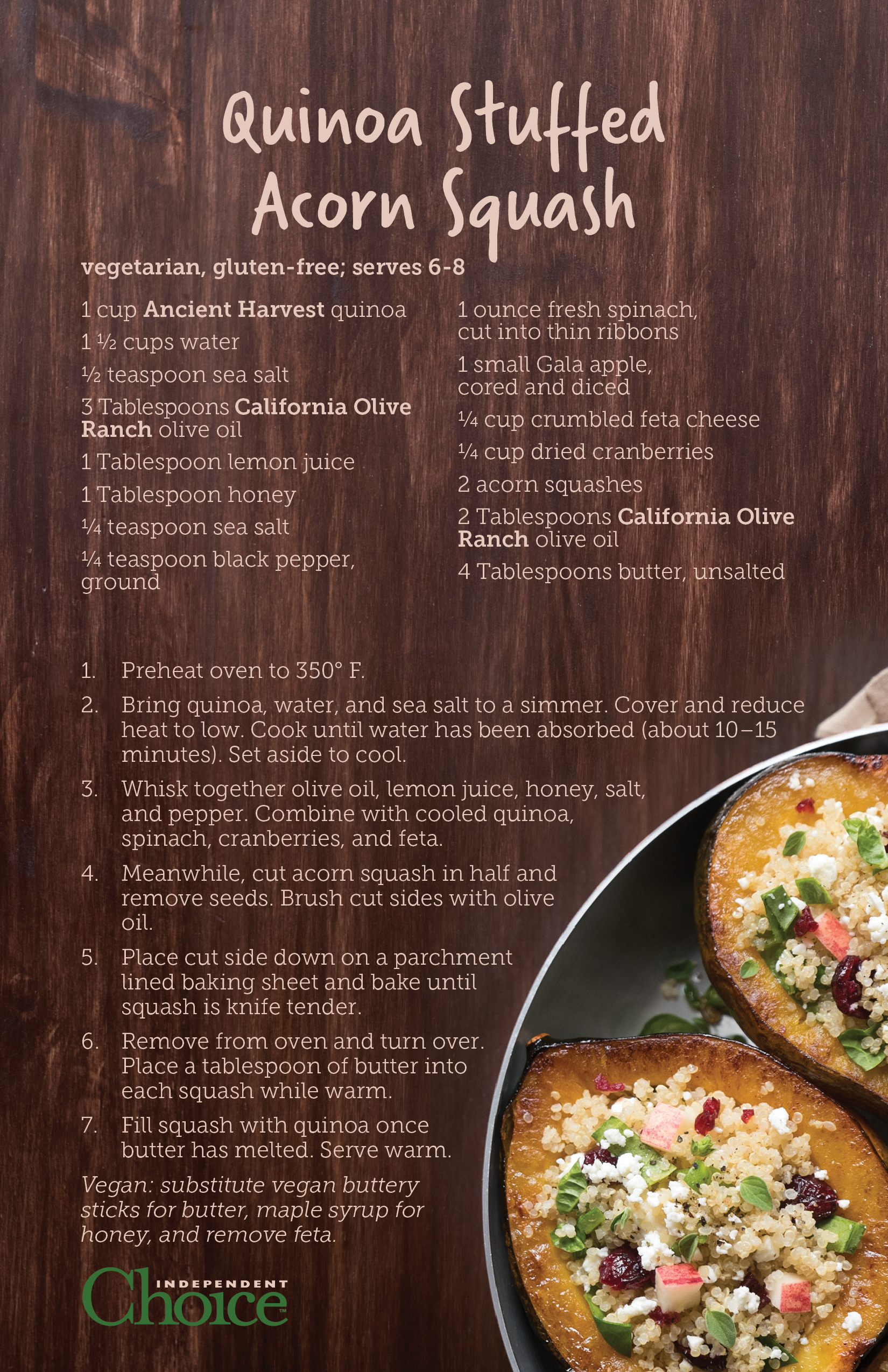 Vegetarian and gluten-free, with easy substitutions to make this suitable for your vegan guests!