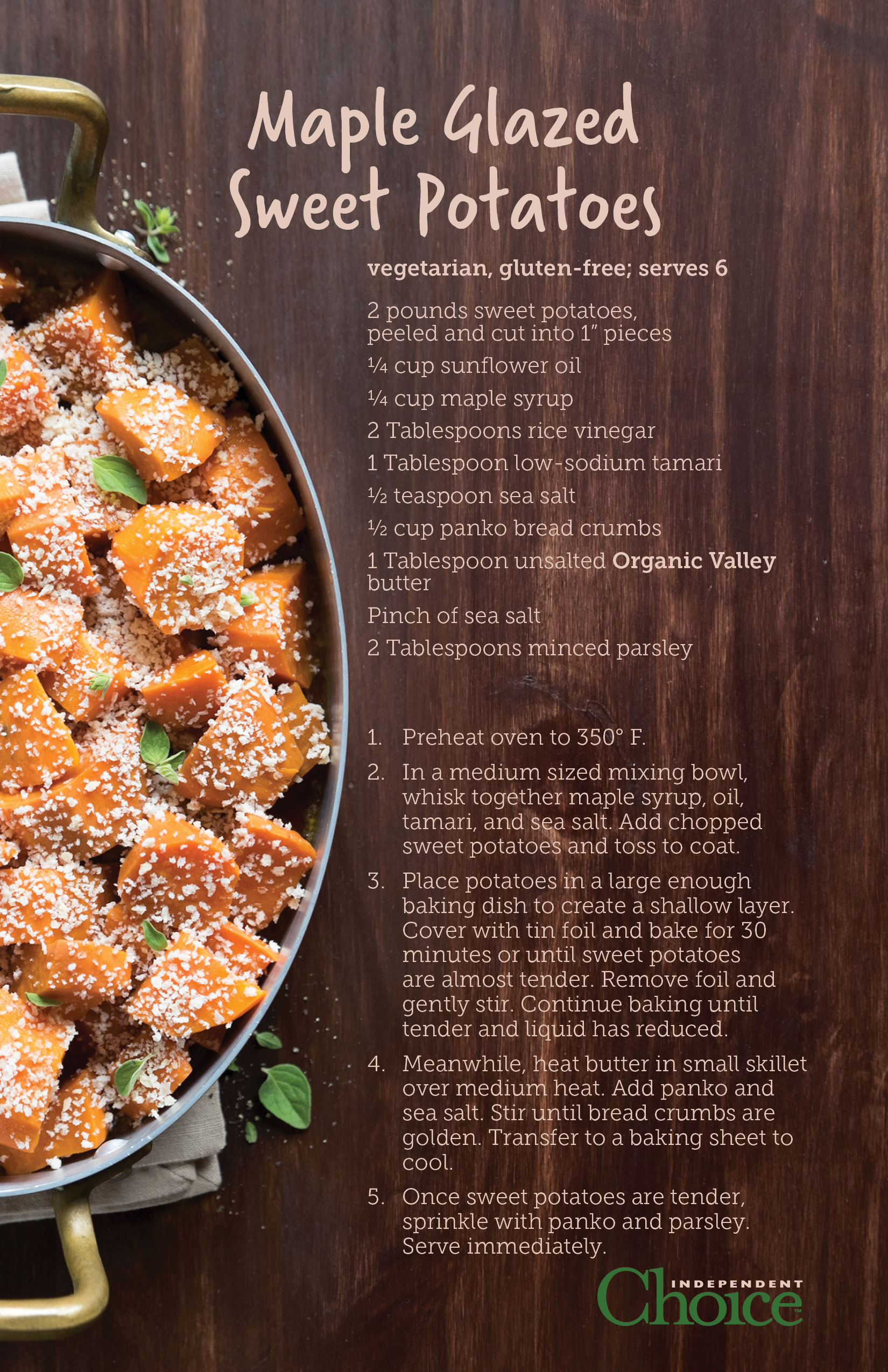 Vegetarian and gluten free.   Make sure your panko bread crumbs are gluten free, or leave them out for your gluten free guests. Easily made vegan by substituting vegan butter for regular dairy butter.