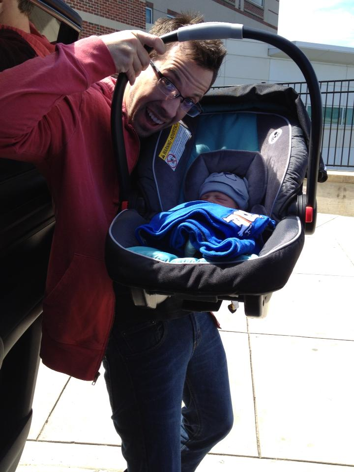 Taking home Elliott from the hospital. I drove very, very slow. I got honked at.