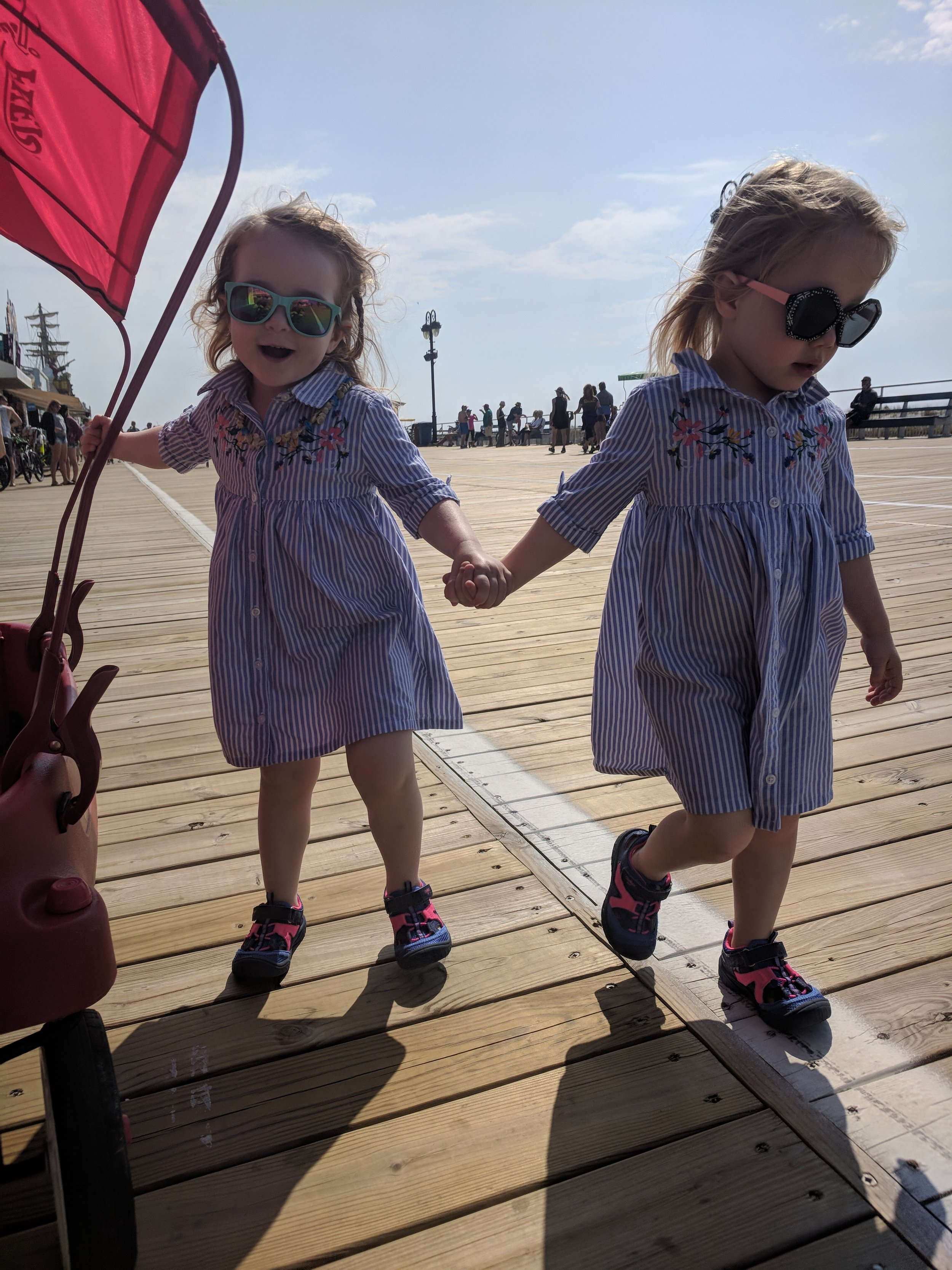 A wagon like this with a canopy can save you from carrying your kids all the way down the boardwalk. Unless they decide they won't go in it. Because toddlers. But at least my twins look cute, right?