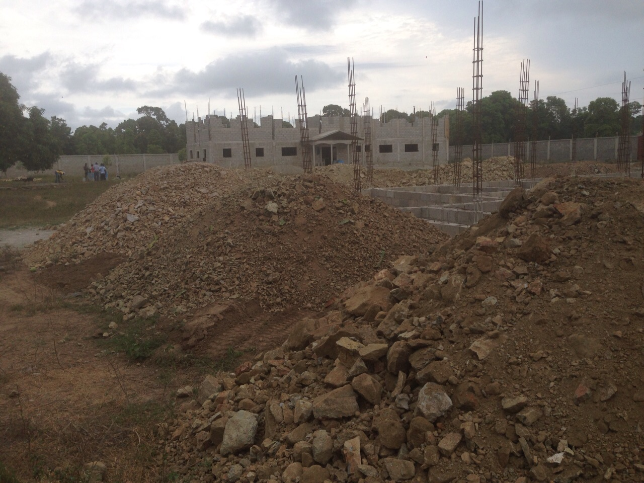 Eye Center foundation work with Medical Clinic in background