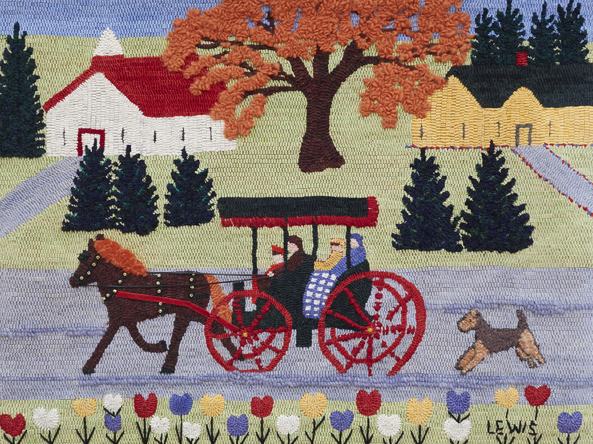 Horse Drawn Carriage and Dog, A Maud Lewis Adaptation  Highland Heart Hookery; www.hookarug.com  Licensed by the Art Museum of Nova Scotia   On Exhibit at the Fort Francis Museum, Fort Francis, Ontario, 2015
