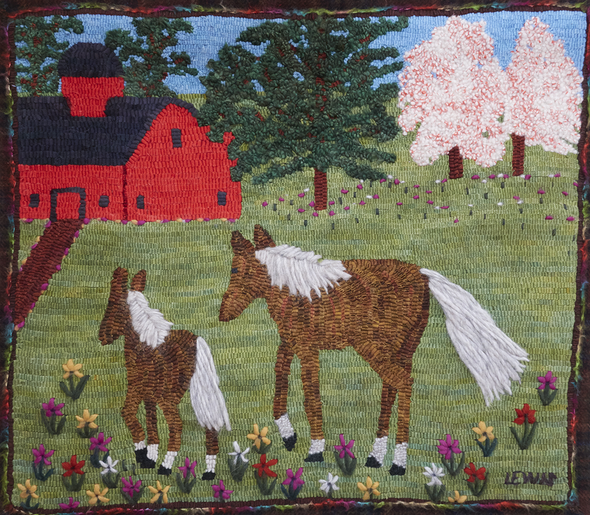 Mare and Colt, A Maud Lewis Adaptation   Highland Heart Hookery; www.hookarug.com    Licensed by the Art Gallery of Nova Scotia
