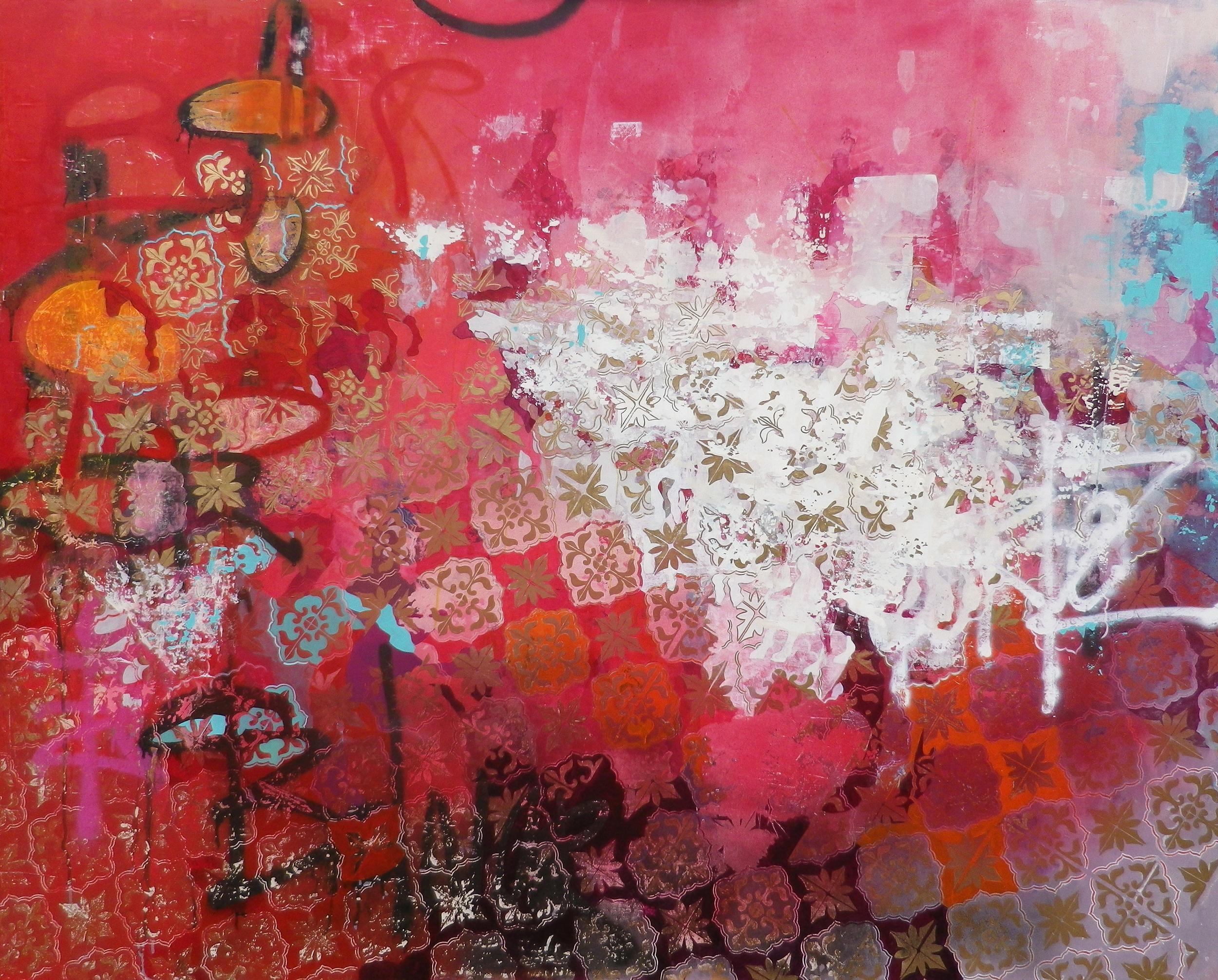 Crystal Latimer, They crave gold like hungry swine, 2015, acrylic, spray paint, metallic gilding on panel 4' x 5'