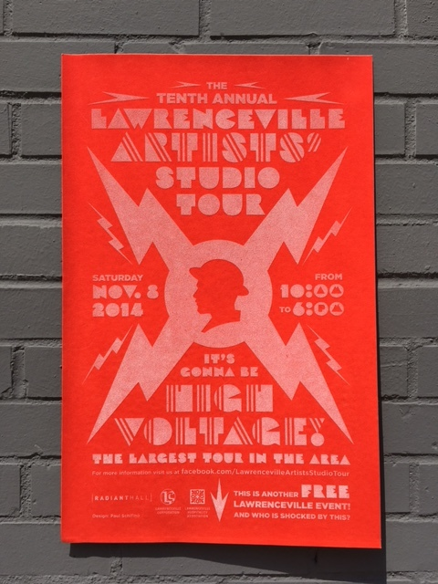 """STUDIO TOUR #10 — 2014   I tried to use the fact that it was the 10th anniversary to my advantage, graphically. I developed this """"High Voltage"""" theme. I really tweaked every part of this... right down to the date and time. This is another of my favorites from the series. [More detail on this design  here .]  PRINTING PROCESS One-color silkscreen on red velvet paper."""