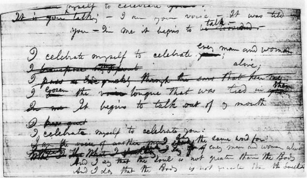 Origins: Manuscript Page (I celebrate myself)