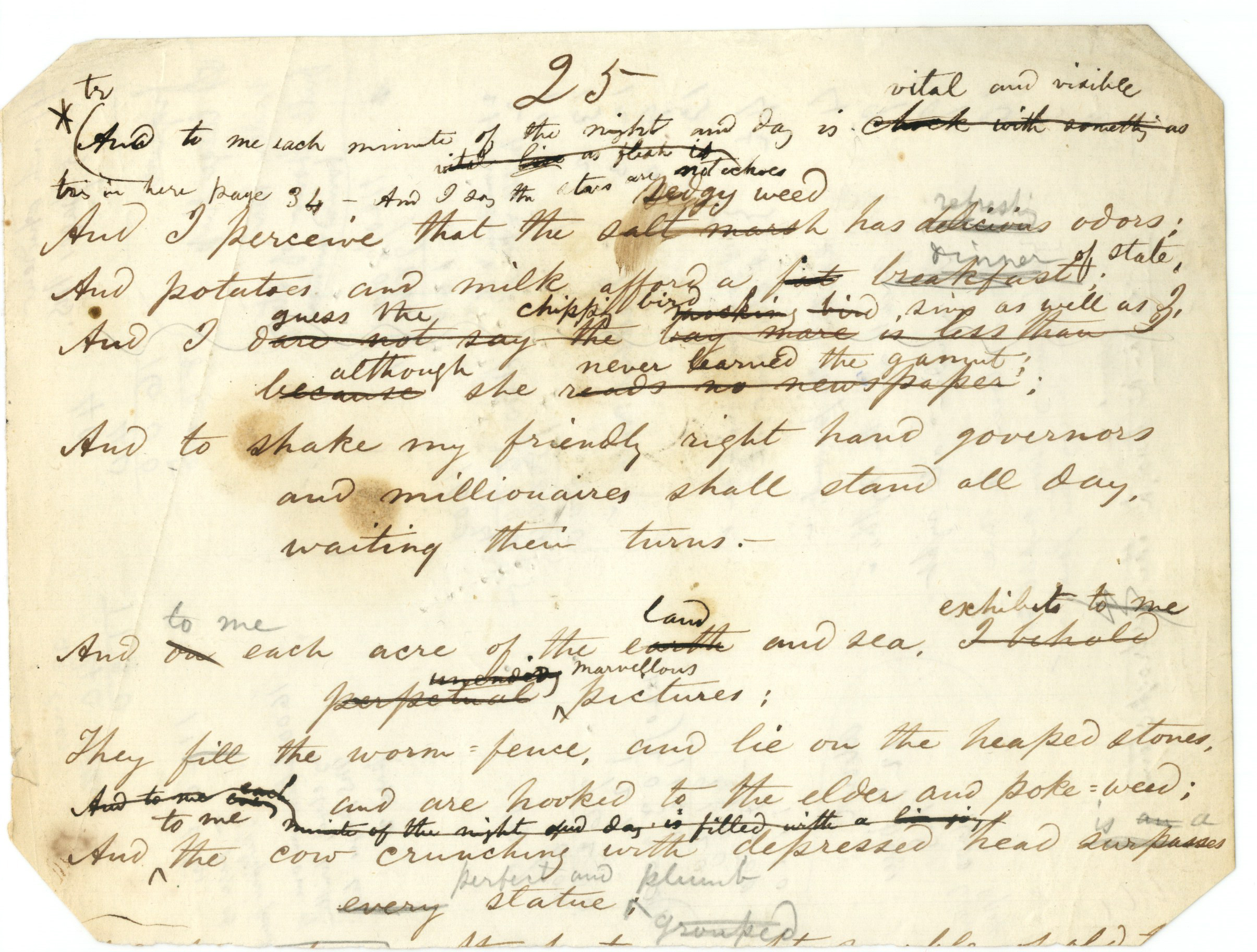 Origins: Manuscript Page (proto- Song of Myself)
