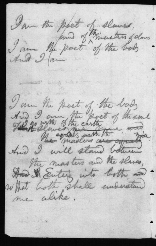 Origins: Notebook Page (I am the poet of slaves)