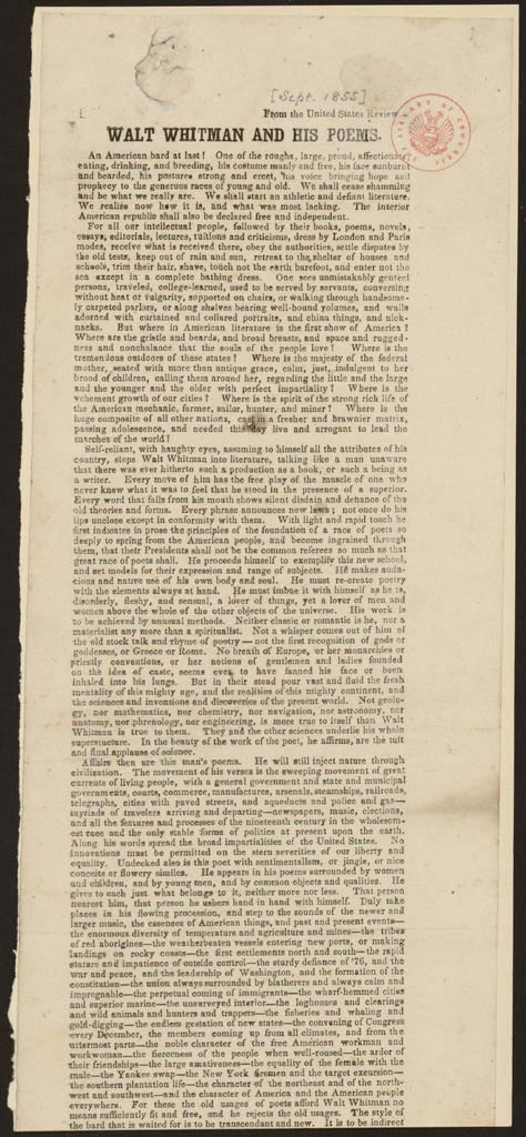 Structure: Whitman Self-Review of 1855 Leaves