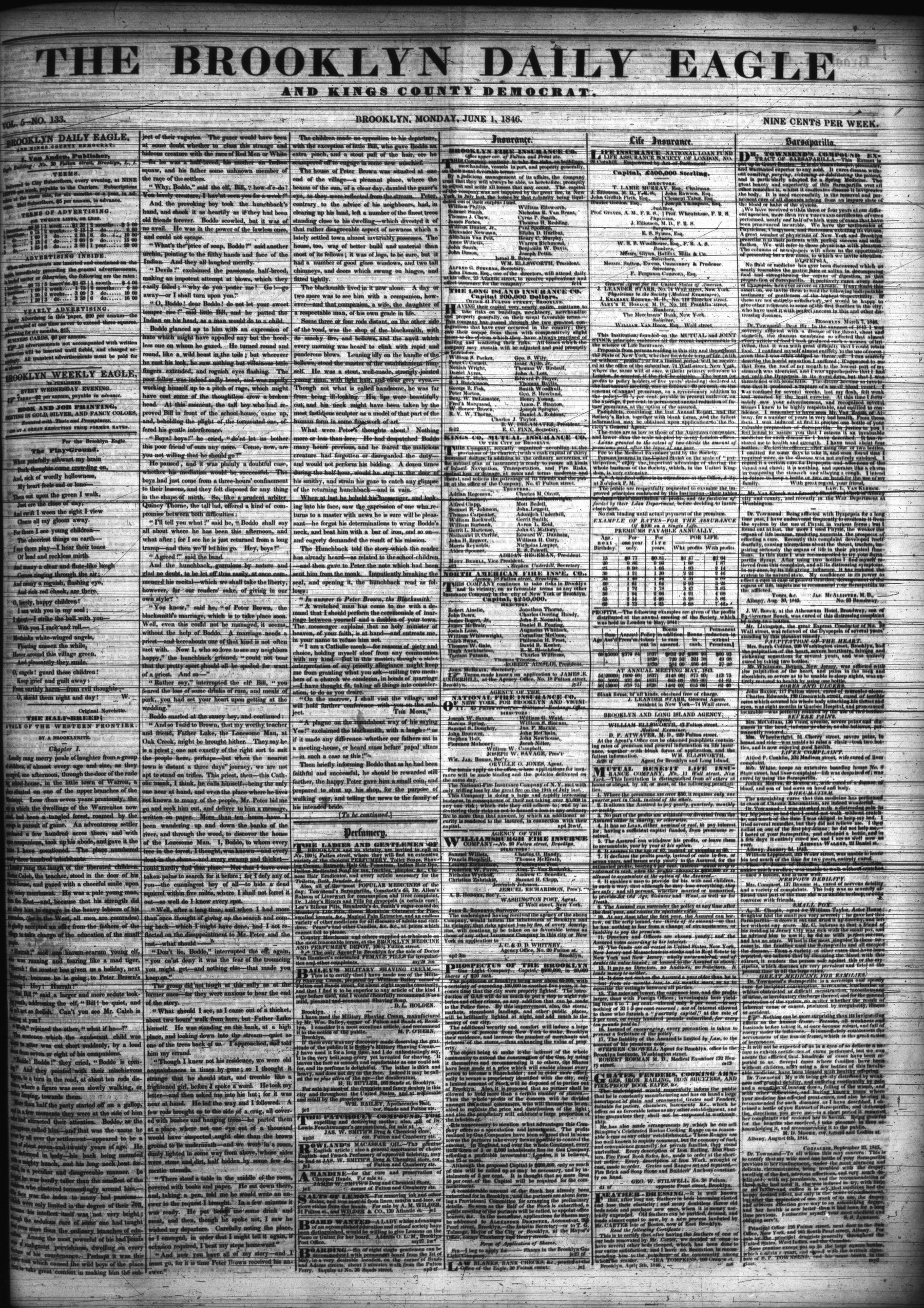 Structure: Brooklyn Daily Eagle, June 1846