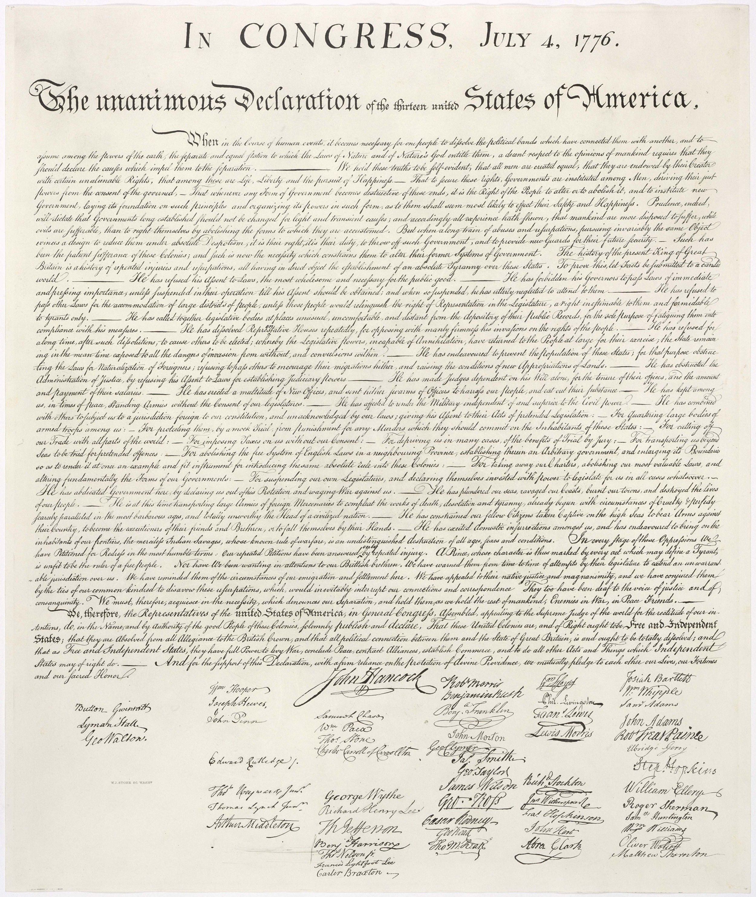 Democracy: Declaration of Independence (All men...)