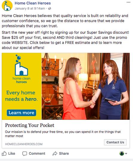 Home Clean Heroes | Facebook Ads