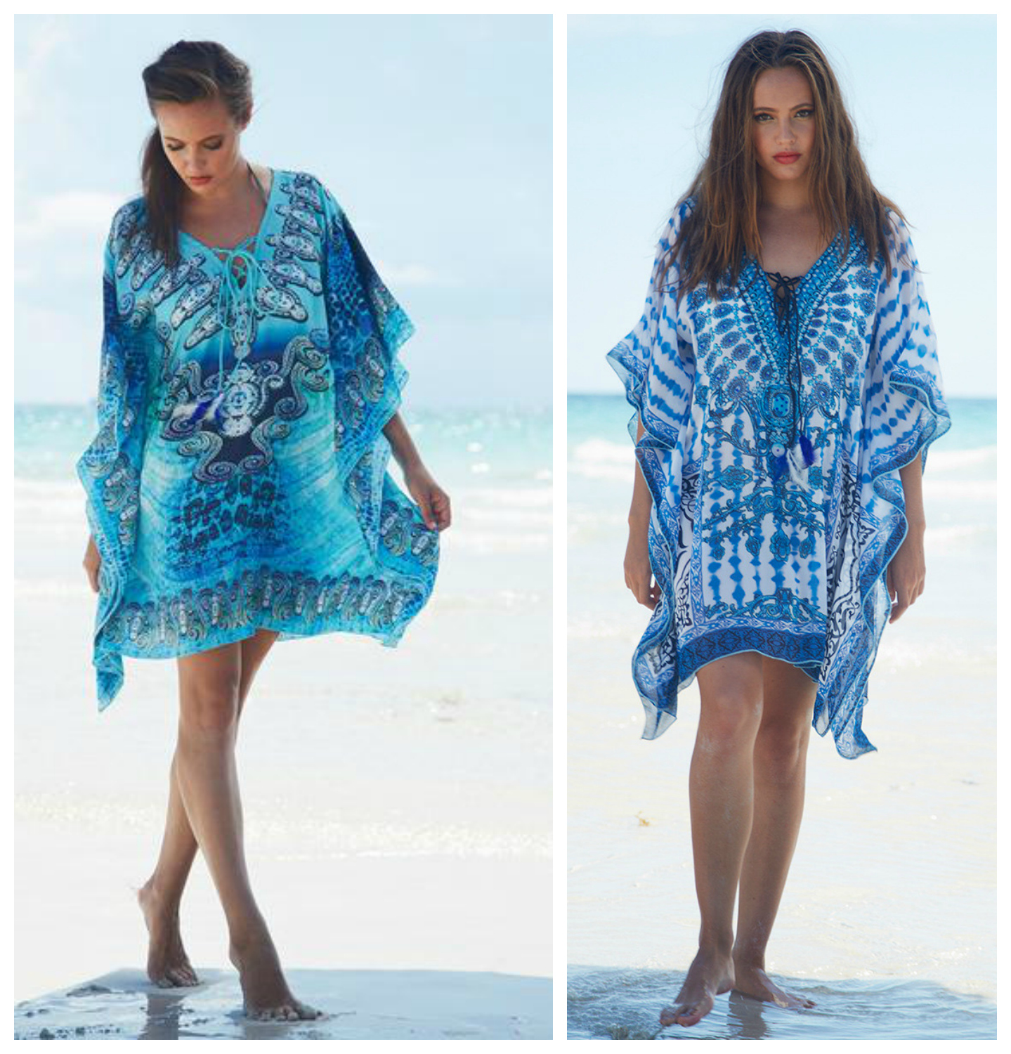 Cool and loose in the heat, yet dazzling and unique through the day, these Debbie Katz kaftans offer a balance between beachwear and casual wear. Take this from the town to the beach and back again. Try synching the waist with a skinny belt and applying accessories to formalize this peice.  Shop both our   Turquoise Mali   and   Navy/White Shanta  selections online or in stores.