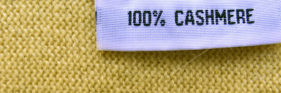 """Step 1. Check the Label   An easy giveaway for low-quality cashmere products can be identified simply by the product contents printed on the product's label. Companies are required by law to list the percentages of materials used, and therefore you should only select items that are listed as """"100% CASHMERE"""". Anything less than 100% indicates a cashmere blend, usually of lesser quality. While blended fabric can still yield quality clothing, this should be reflected in a lower pricepoint."""
