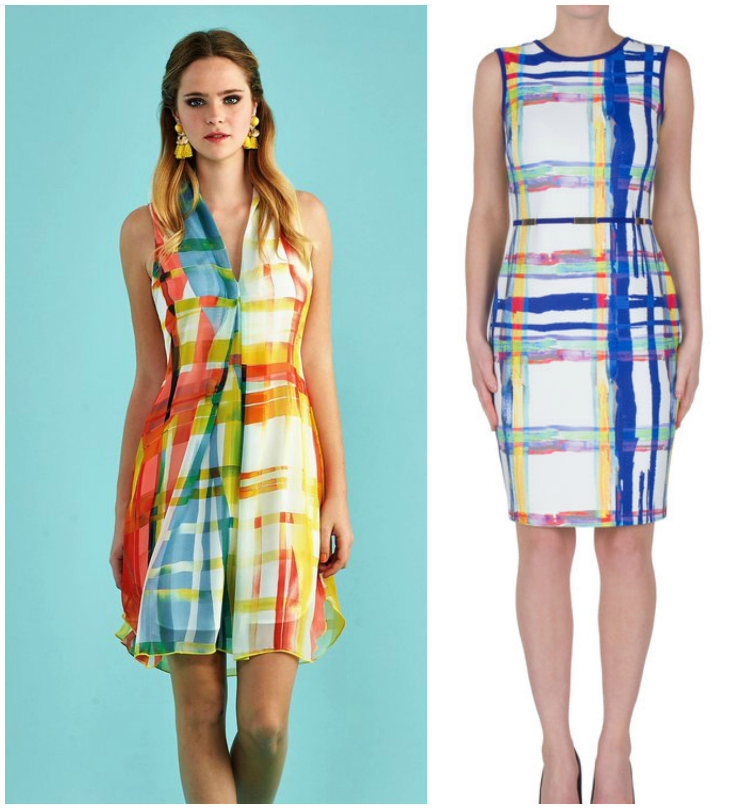 Find allover plaid overwhelming? Deconstructed plaid is a stylish way to play upon the trend in a creative way. The abstract prints used in our  Tayah Print Dress  and  Joseph Ribkoff Plaid Dress  carry the influence of the plaid trend through their use of tartan pattern and overlapping lines.