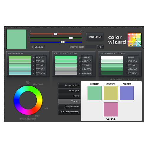 A tetradic color scheme I made using the Color Wizard app on  Colorsontheweb.com