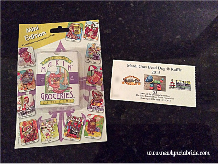 Haydel's Bakery Mardi Gras Bead Dog Raffle ticket and the free giveaway with each raffle purchase, while supplies last!