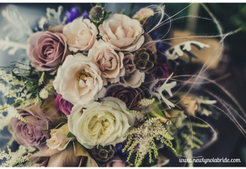 Here's an example by way of flowers. Notice how this gorgeous bouquet incorporates different shades of pink (to the point where it almost looks purple) with some neutrals? Classic.