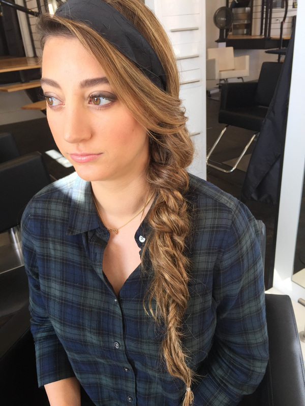 A side braid with an accent headband says 'effortless' and is great for keeping your hair maintained, yet not pulled completely away from your face. | Hair:  Blush and Bashful  |  Photo Credit