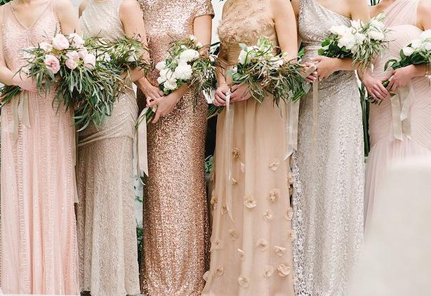Mix & match metallic bridesmaid look executed perfectly in these dresses by Badgley Mischka. |  Photo  by Marissa Moss via  Style Me Pretty
