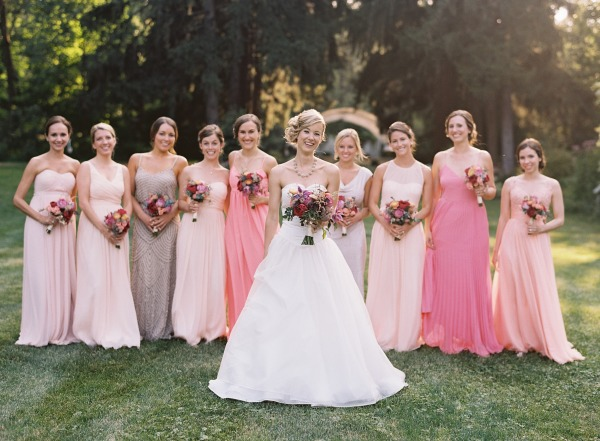 Elegant mix & match bridesmaid dresses in a blush pastel variety. |  Photo  by  Clark Brewer  via  Style Me Pretty