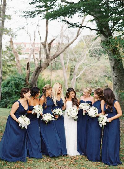 Nautical wedding style mix & match bridesmaid dresses by  Amsale . |  Photo  by  Judy Pak  via  Style Me Pretty