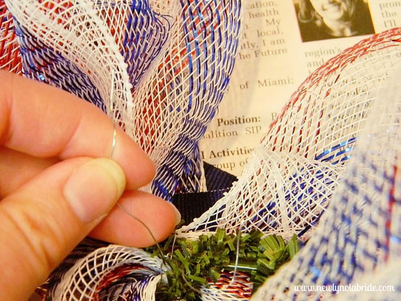 DIY patriotic, Memorial Day, 4th of July, Labor Day wreath.  Easy to make!