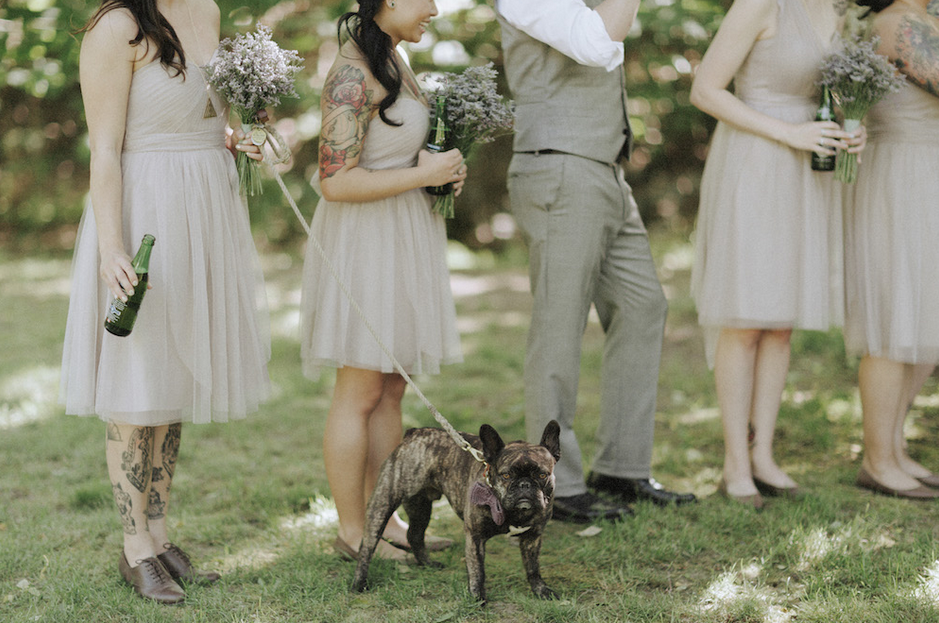 Dog-and-adult-beverage-friendly ceremony....in love.  |  Photo by  Tomasz Wagner Photo + Films  via  Rock n' Roll Bride