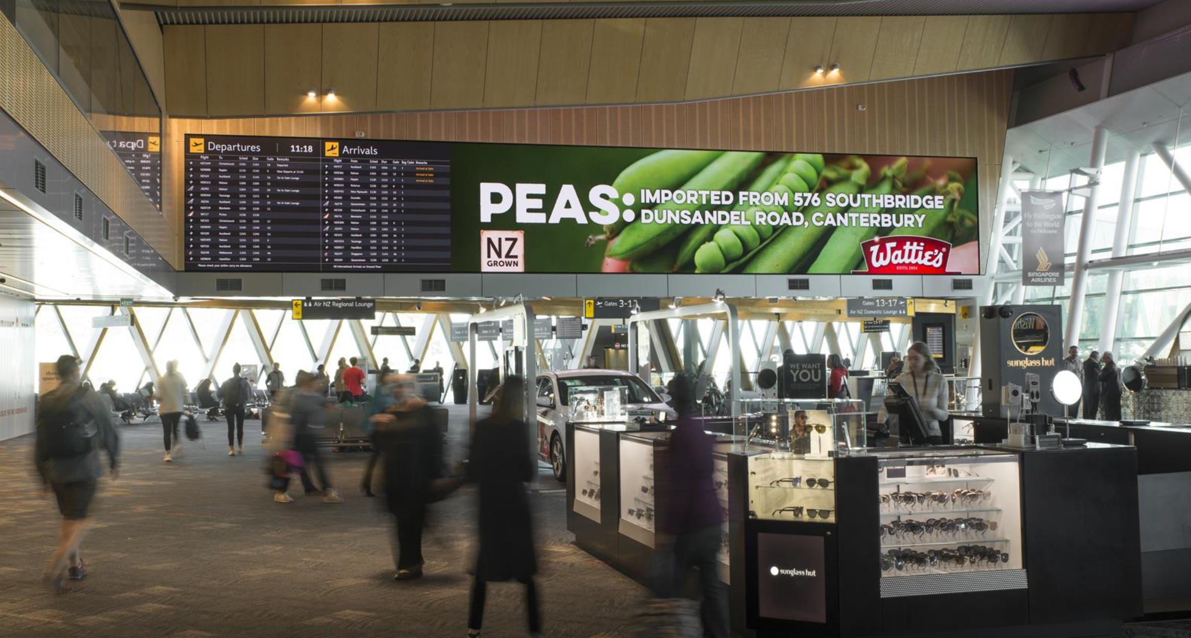 In situ pea billboard Wellington airport
