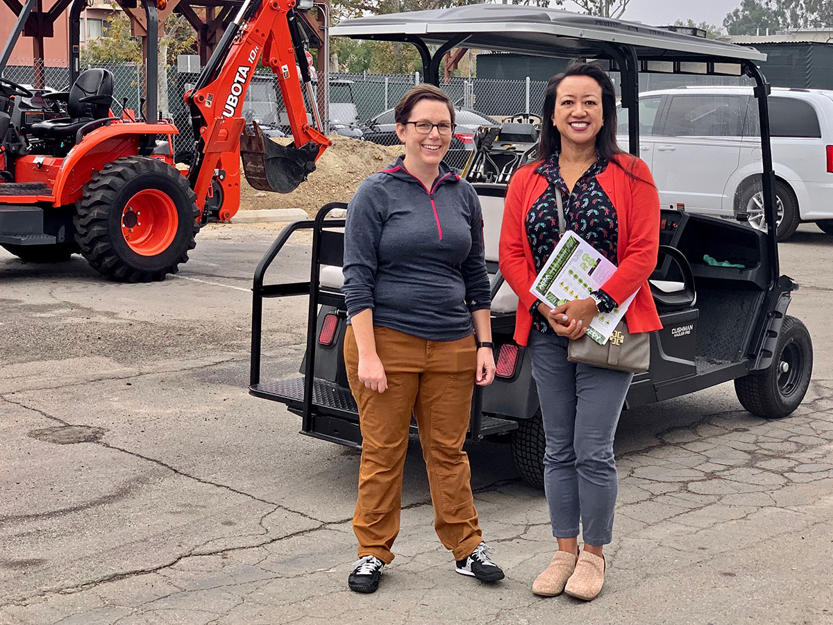 CARB Air Resources Engineer Dorothy Fibiger, PhD, and Melissa Falkenstien, Director of Capital Projects and Asset Management for UCI Housing, share electric equipment intel and strategy.