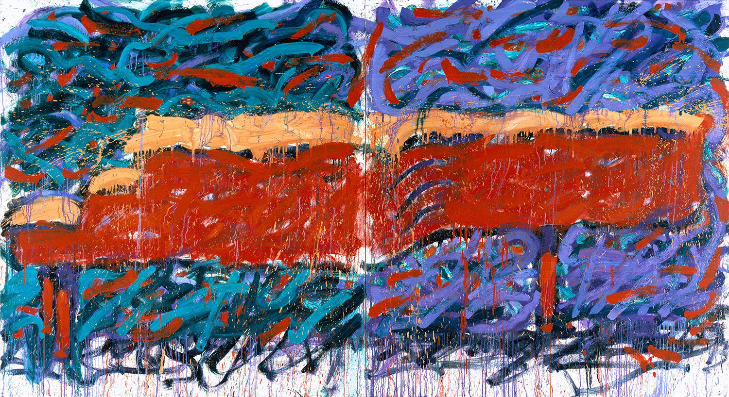 Schroeder's Piano (Play On Cadmium Red) | oil and enamel on canvas | 72″ x 132″ | 1990