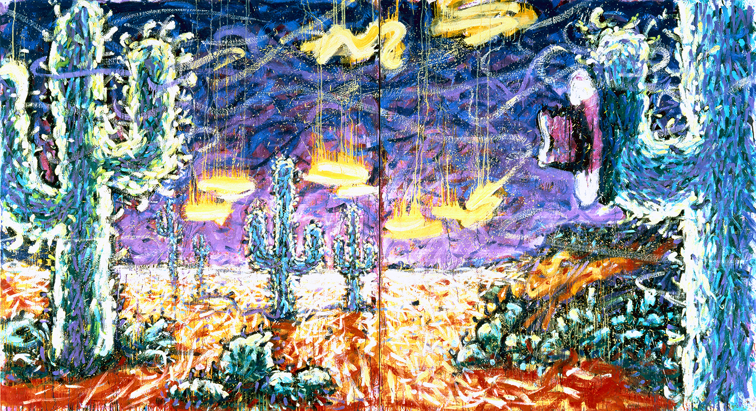 Spike's Desert (Where A Dog Lays His Hat Is His Home) | oil and varnish on canvas | 72″ x 132″ | 1990