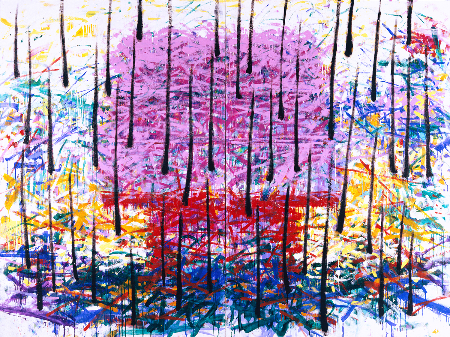 Late Afternoon Dog House Cathedral In The Rain   oil and enamel on canvas   96″ x 128″   1993