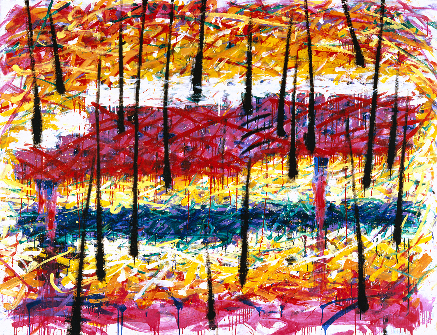 Piano In The Rain   oil and varnish on canvas   64″ x 96″   1993