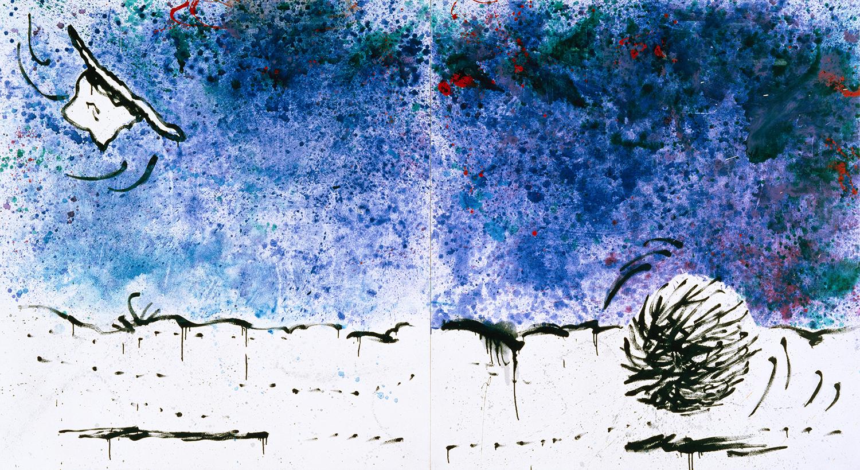 Tumbleweed Tango | oil and varnish on canvas | 72″ x 128″ | 1993