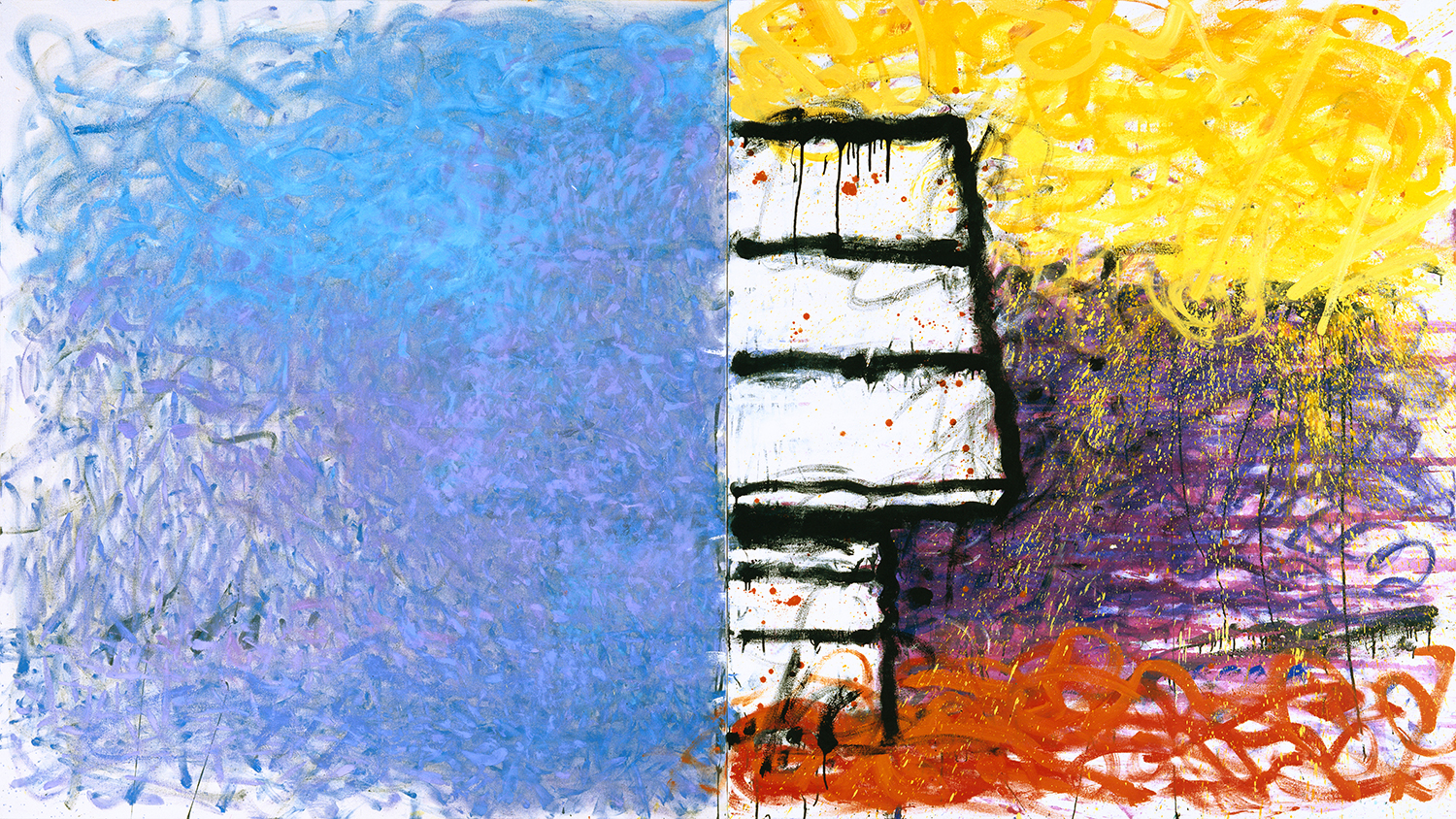 Early Morning Late Afternoon Dog House Cathedral | oil on canvas | 72″ x 132″ | 1994