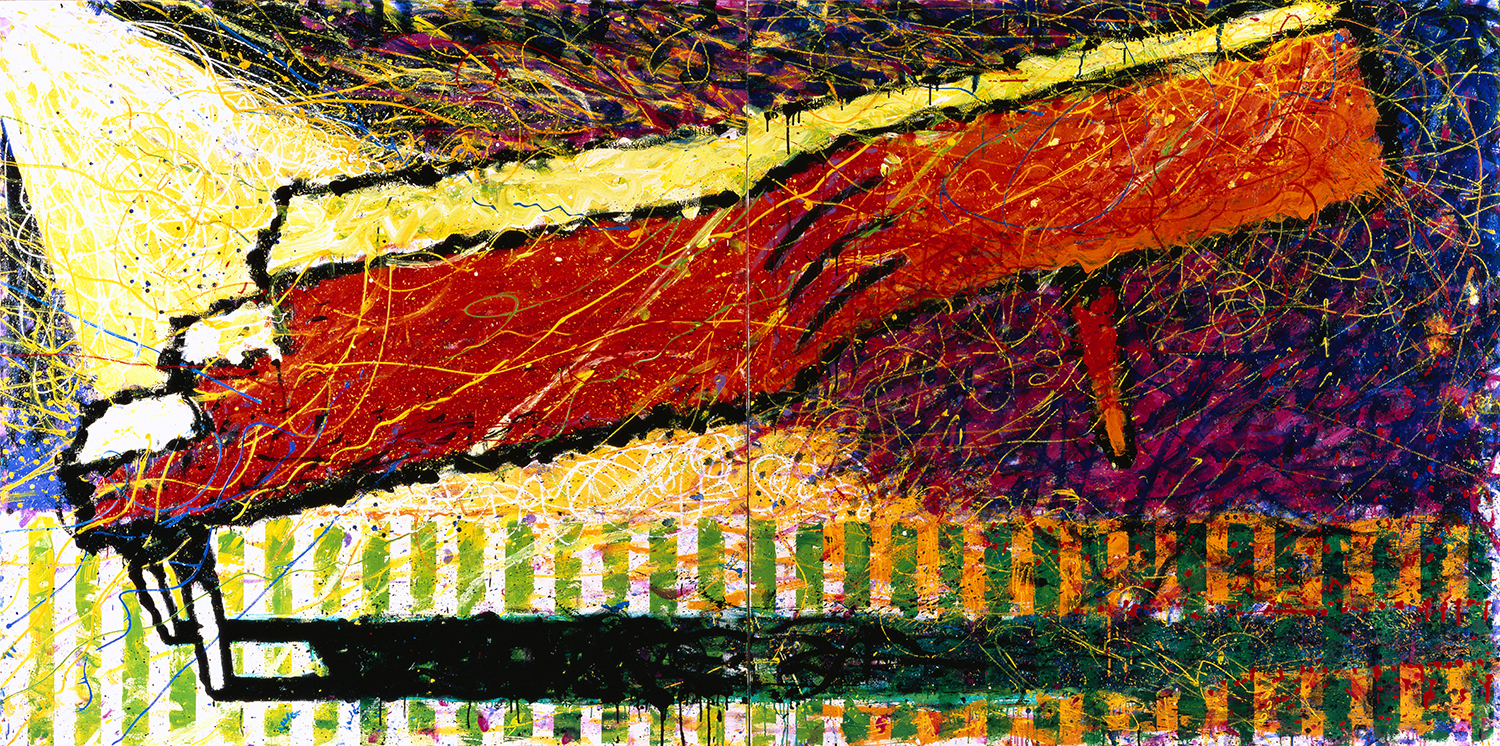 Some Toy Pianos Just Like To Dance   oil enamel and acrylic on canvas   72″ x 144″   1996