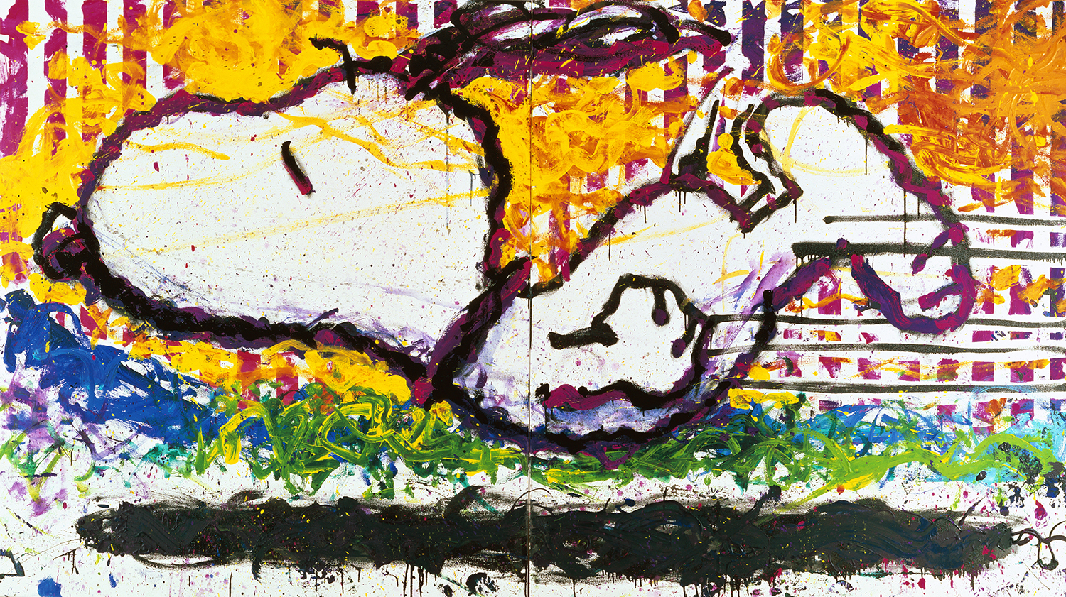 As The Sun Sets Slowly In The West We Bid You A Fine Farewell   oil enamel and acrylic on canvas   72″ x 128″   1997