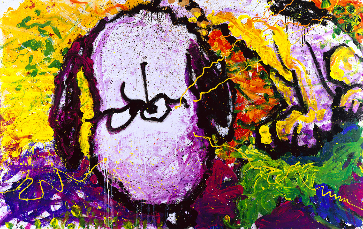 Are You Talking To Me | oil enamel acrylic and varnish on canvas | 64″ x 102″ | 1997