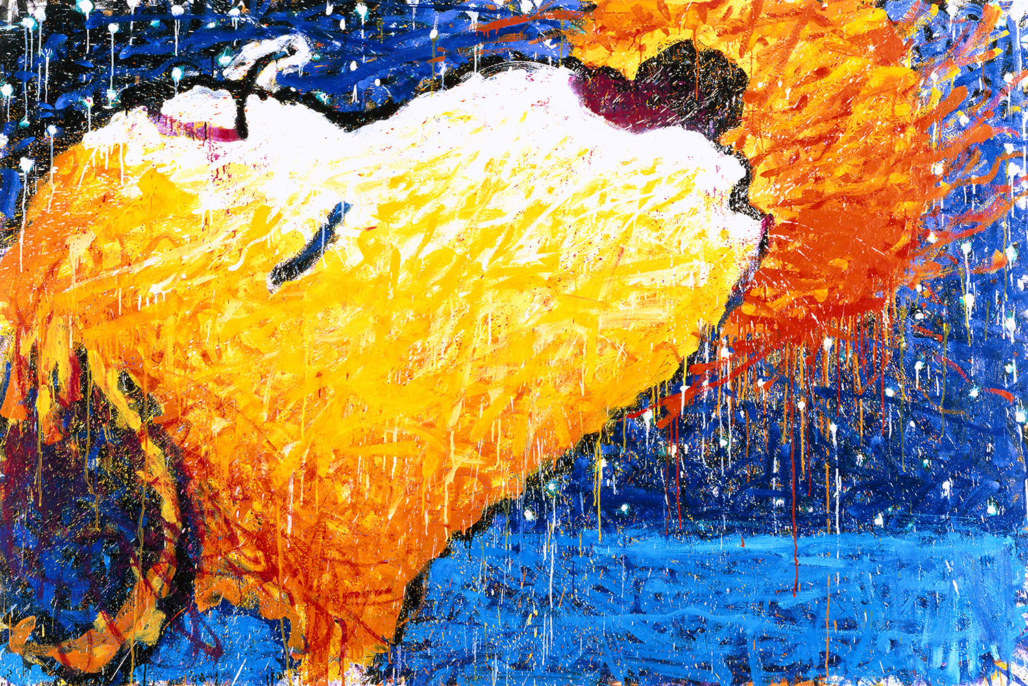 Sticky Wet Romantic Kiss On The Love Boat   oil enamel acrylic and varnish on canvas   64″ x 102″   1997