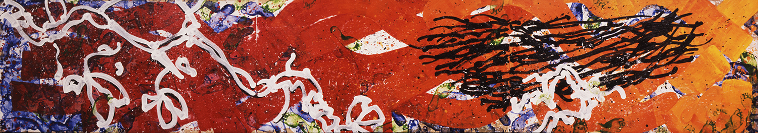 Top Of The Nest | acrylic and enamel on wood | 24″ x 108″ | 2002